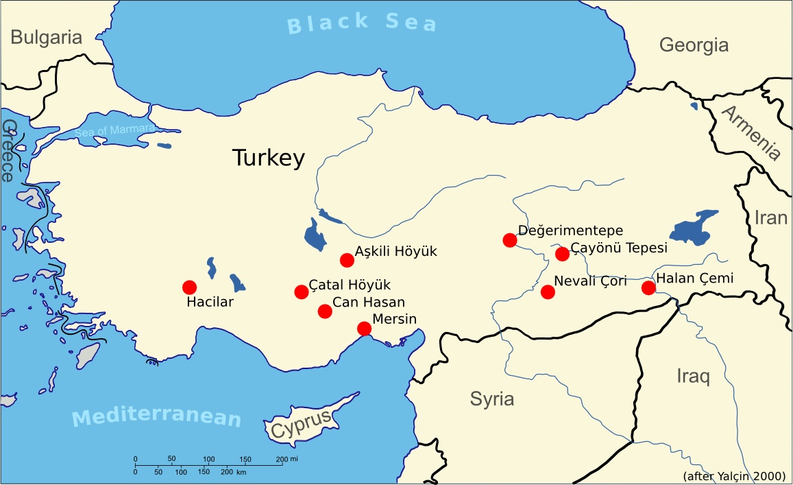 Archaeologcal settlements with the very early metalworking evidence prior to 5000 BC. Data from Yalçin (2000).