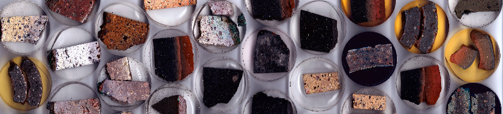 Image of cold mounted archaeometallurgical samples: polished sections