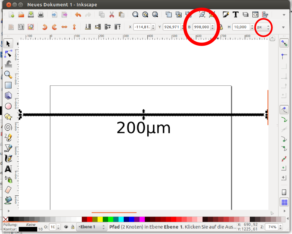 Drawing Lines With Inkscape : Annotating micrographs with a scale bar